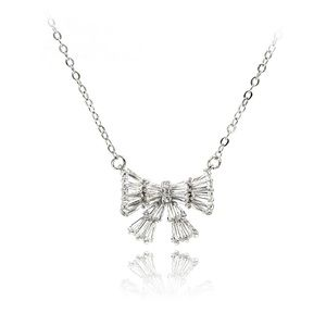 Silver small fresh bow wild necklace